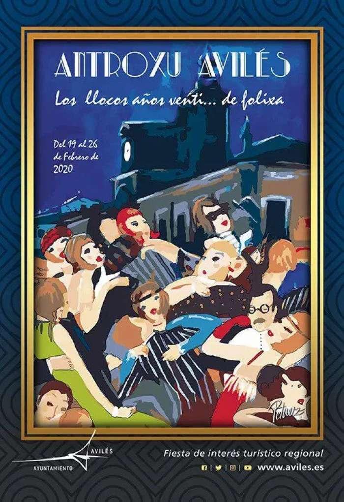 El desfile principal de los carnavales de Avilés empieza en la calle José Cueto y termina en la Plaza de España