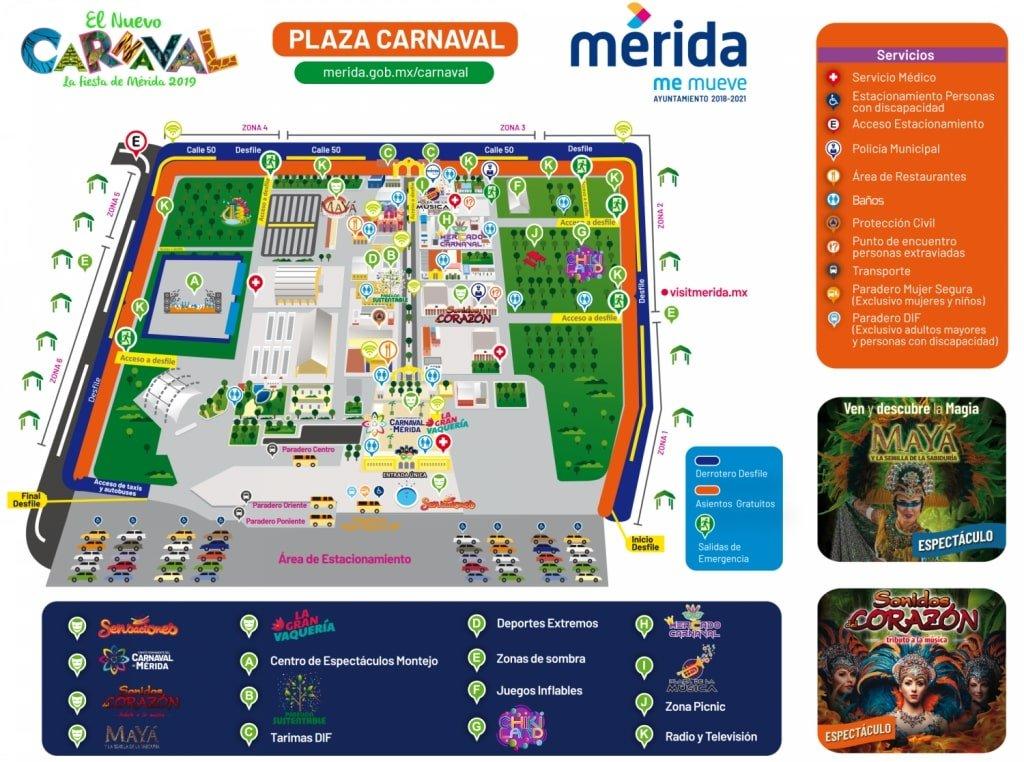 El recinto de Ciudad Carnaval es una zona multiusos donde ocurren la mayor parte de las actividades de los carnavales en Mérida