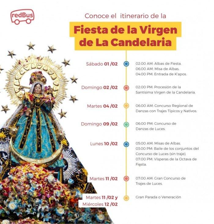En lasFiesta de la Virgen de la Candelaria de Puno las personas recorren las calles bailando y vnerando a la virgen