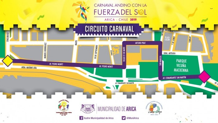 Los bailarines disponen de un circuito que va desde la Avenida Comandante San Martín hasta la Avenida Pedro Montt en los carnavales de Arica