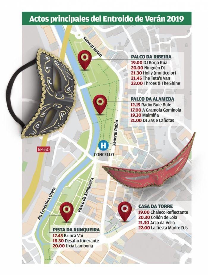 Las actividades del carnaval de Redondela se realizan en simultáneo y varios puntos